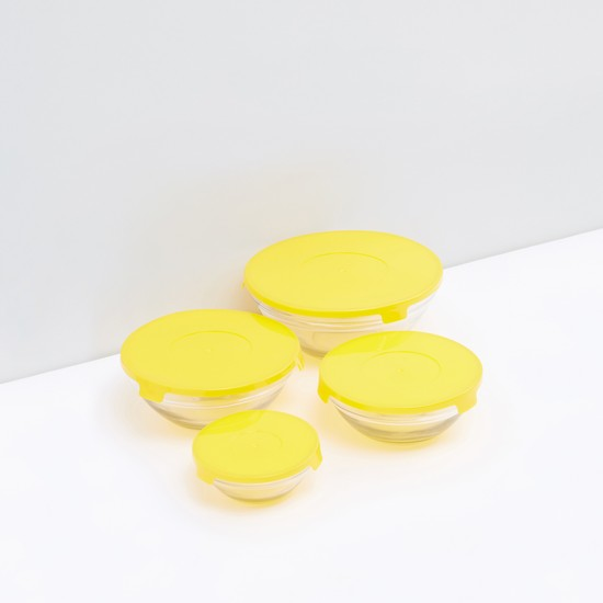 Round Transparent Bowl with Lid - Set of 4