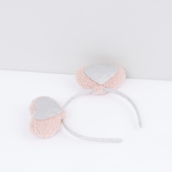Textured Hair Band with Heart Ear Appliques