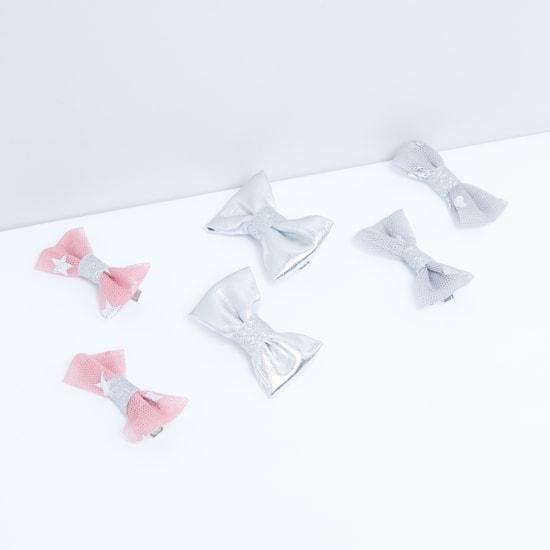 Glitter Bow Detail Hair Pin - Set of 6