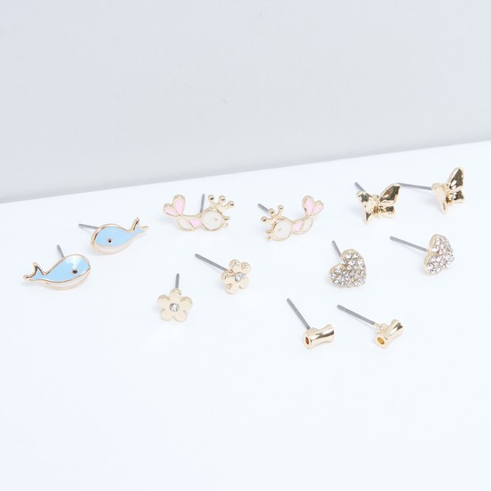 Assorted Metallic Stud Earrings with Push Back Closure - Set of 6