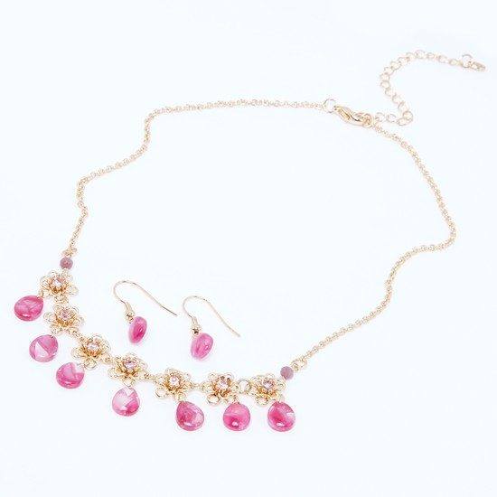 Studded Flower Detail Necklace and Earrings Set