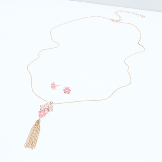 Floral Tassel Detail Necklace and Earrings Set