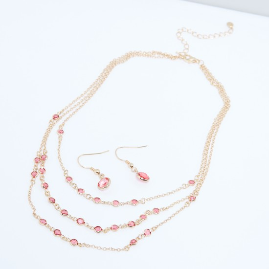Studded Multi-Layer Necklace and Earrings Set