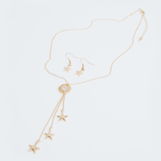 Star Pattern Necklace and Earrings Set