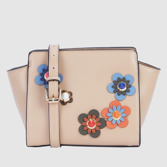 Flower Applique Crossbody Bag with Magnetic Snap Closure