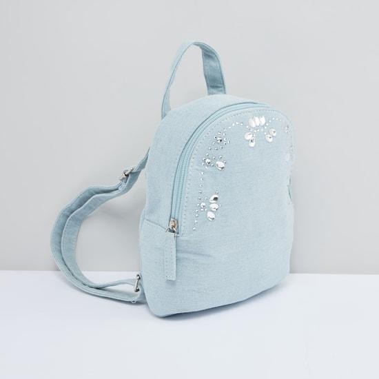 Embellished Backpack with Zip Closure and Adjustable Shoulder Straps