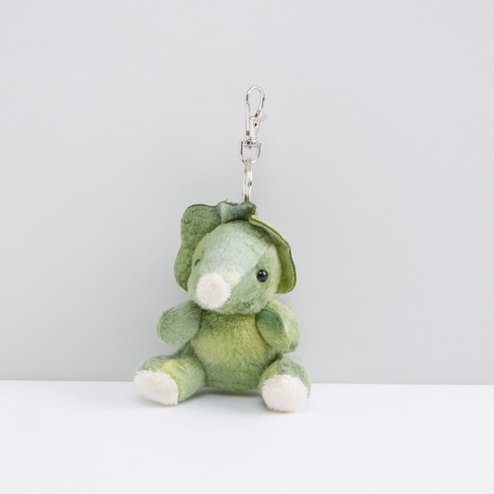 Triceratops Shaped Plush Keychain with Lobster Clasp
