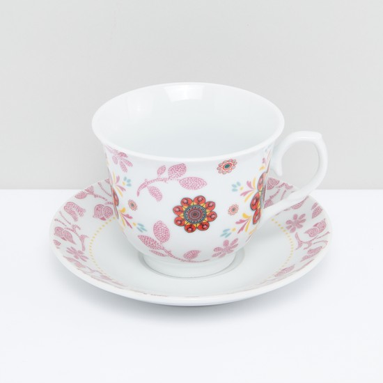 Floral Printed Cup and Saucer- Set of 6