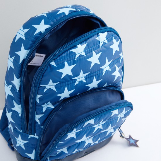 Printed and Quilted Backpack with Zip Closure