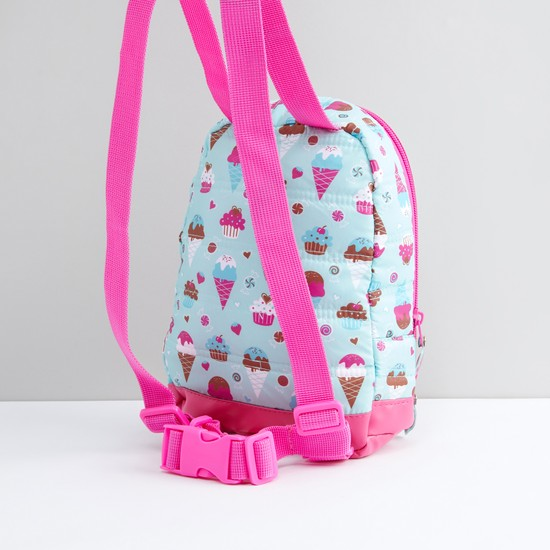 Printed and Quilted Backpack with Zip Closure and Harness