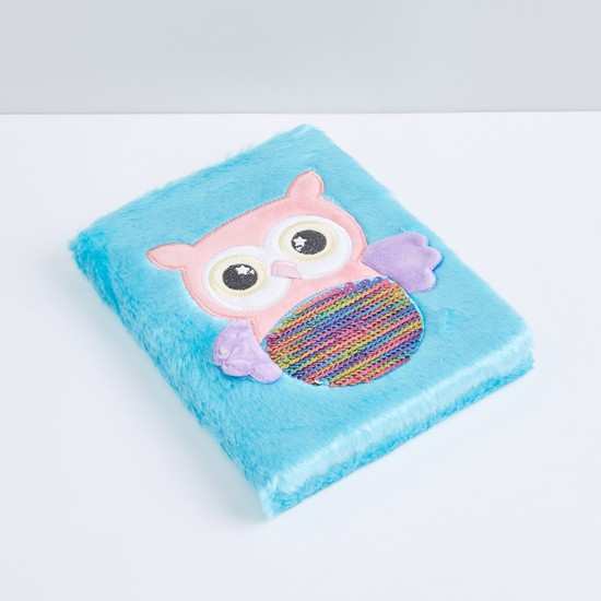 Textured Owl Plush A5 Diary with Printed Pages