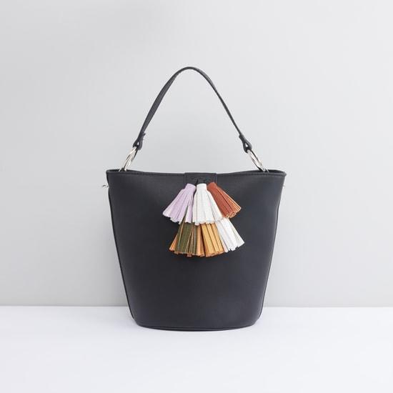 Tassel Detail Handbag with Detachable Long Strap