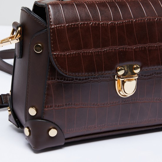 Textured Satchel Bag with Detachable Long Shoulder Strap