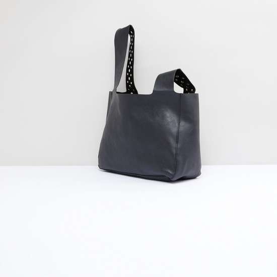 Embellished Handbag with Asymmetric Handles
