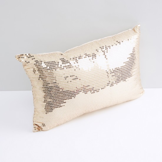 Sequin Detail Filled Cushion with Zip Closure