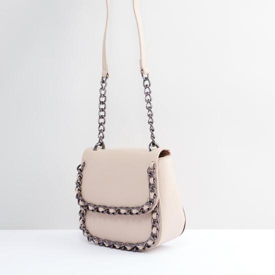 Metallic Detail Satchel Bag with Magnetic Snap Closure