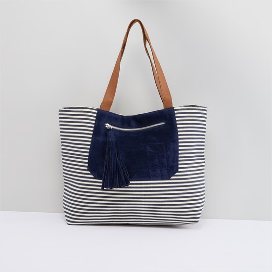 Striped Tote Bag with Magnetic Snap Closure and Pocket Detail