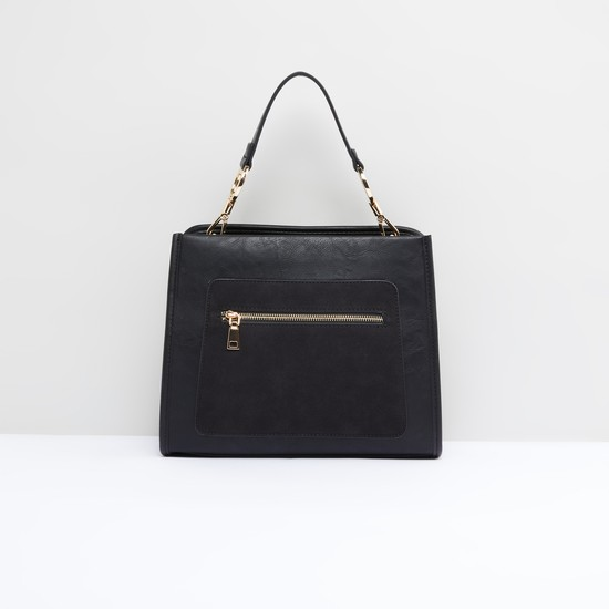 Textured Handbag with Zip Closure and Detachable Strap