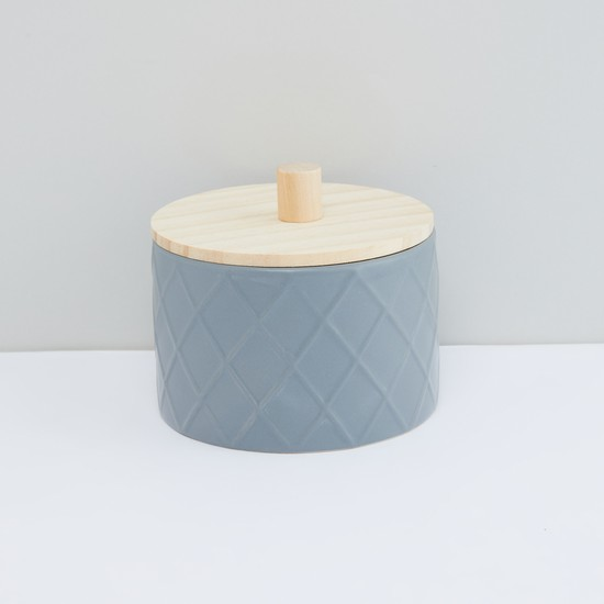Textured Round Box with Lid