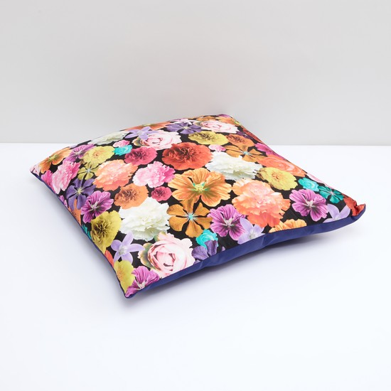 Floral Printed Filled Cushion with Zip Closure
