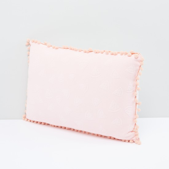 Textured Filled Cushion with Pom-Pom Detail and Zip Closure