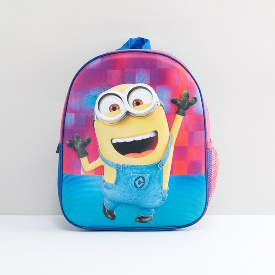 Minions Printed Backpack with Zip Closure and Adjustable Straps