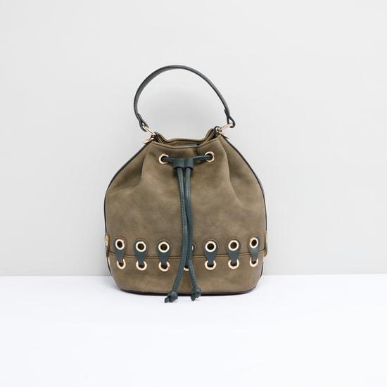 Eyelet Detail Handbag with Drawstring and Detachable Long Strap
