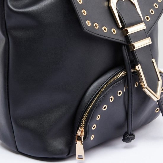 Eyelet Detail Backpack with Flap and Drawstring