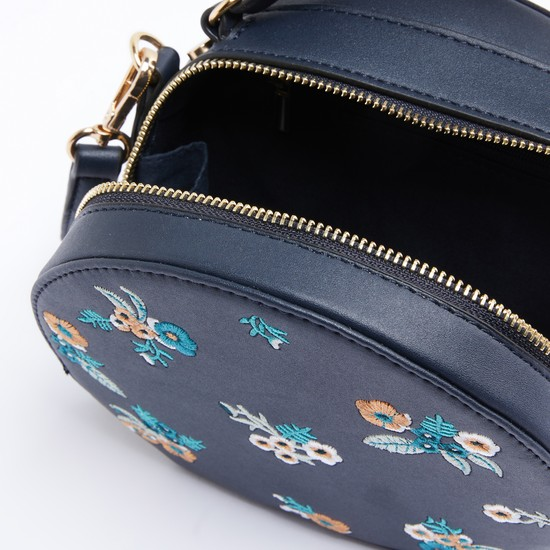Embroidered Crossbody Bag with Adjustable Strap and Zip Closure