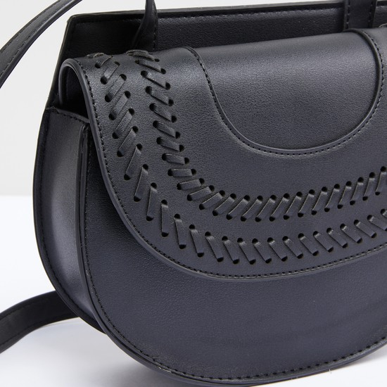 Stitch Detail Satchel Bag with Magnetic Snap Closure