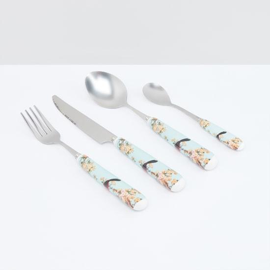 طقم أدوات مائدة من 4 قطعة بطبعات أزهار