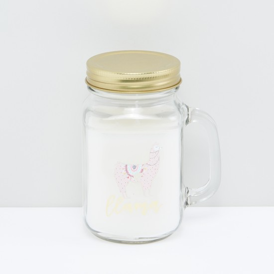 Printed Jar Candle with Handle and Lid