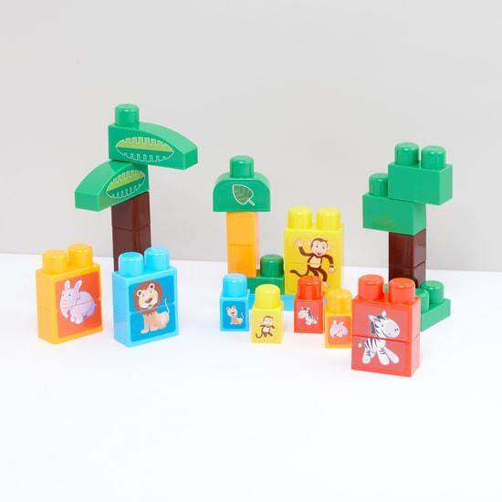 طقم لعبة مكعبات عائلات الحيوانات من 28 قطعة
