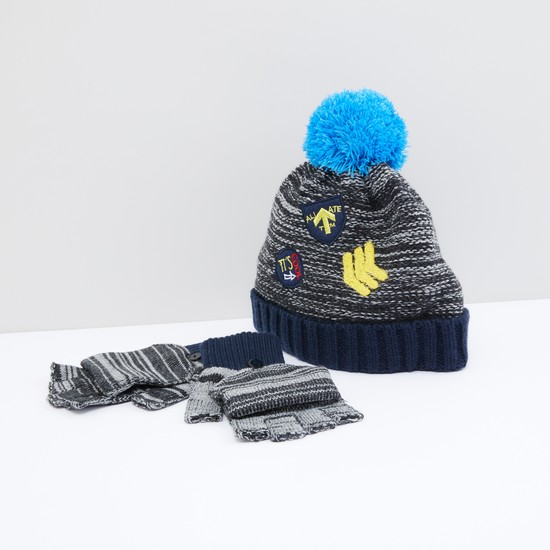 Textured and Printed Cap with Gloves