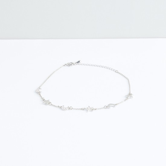 Metallic Anklet with Studded Charms