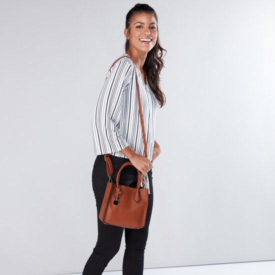 Textured Handbag with Zip Closure and Detachable Strap