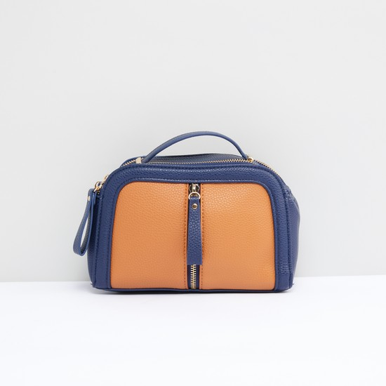 Textured Crossbody Bag with Zip Closure and Detachable Strap