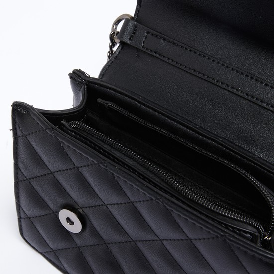 Quilted Satchel Bag with Magnetic Snap Closure