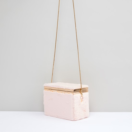 Textured Box Crossbody Bag with Detachable Strap and Metallic Closure