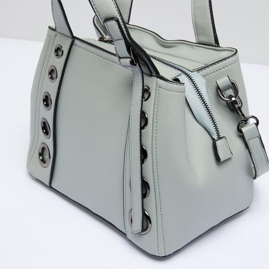 Eyelet Detail Handbag with Zip Closure and Detachable Strap
