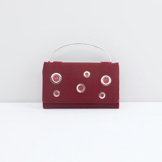 Embellished Clutch with Eyelet Detail and Magnetic Snap Closure