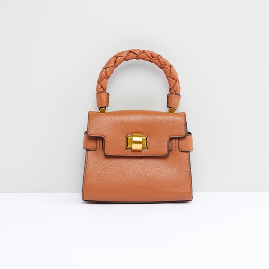Textured Satchel Bag with Twist Lock and Adjustable Strap