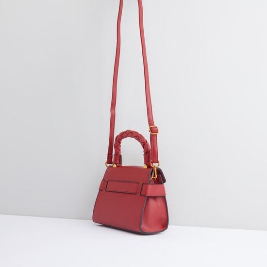 Textured Satchel Bag with Twist Lock and Adjustable Strap