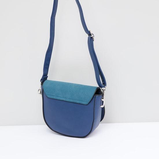 Textured Satchel Bag with Adjustable Strap and Pom-Pom Detail