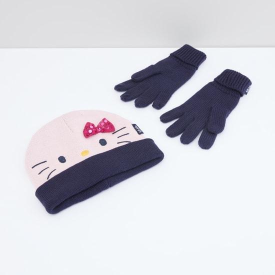 طقم قفازات وقبعة بيني هالو كيتي