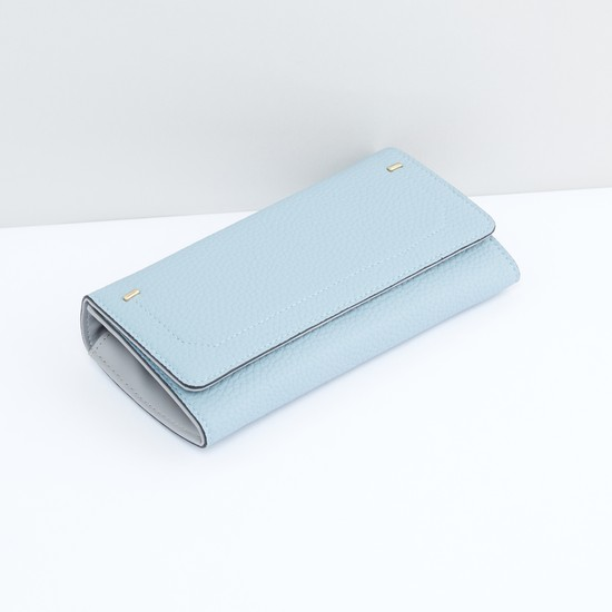 Textured Wallet with Flap and Magnetic Snap Closure