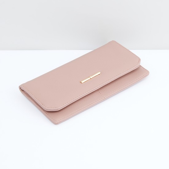 Textured Bi-Fold Wallet with Multiple Pockets and Press Button Closure