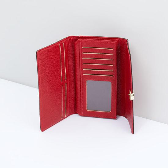 Textured Tri-Fold Wallet with Metallic Lock