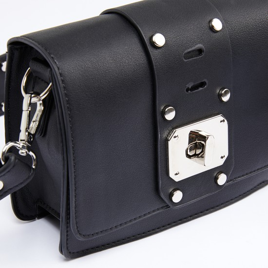 Studded Satchel Bag with Twist Lock and Long Strap