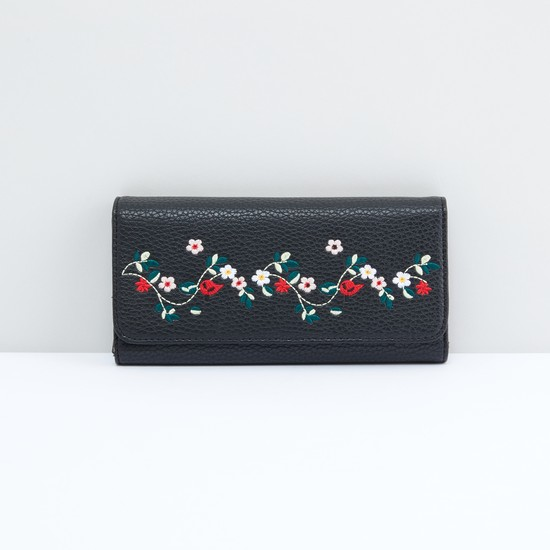 Embroidered Tri-Fold Wallet